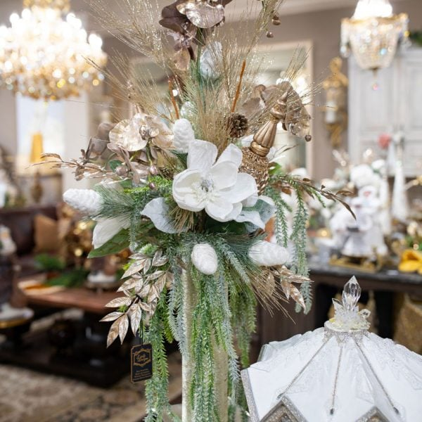 White-and-Champagne-Custom-Christmas-Silk-Flower-Arrangement-in-a-Tall-Vase