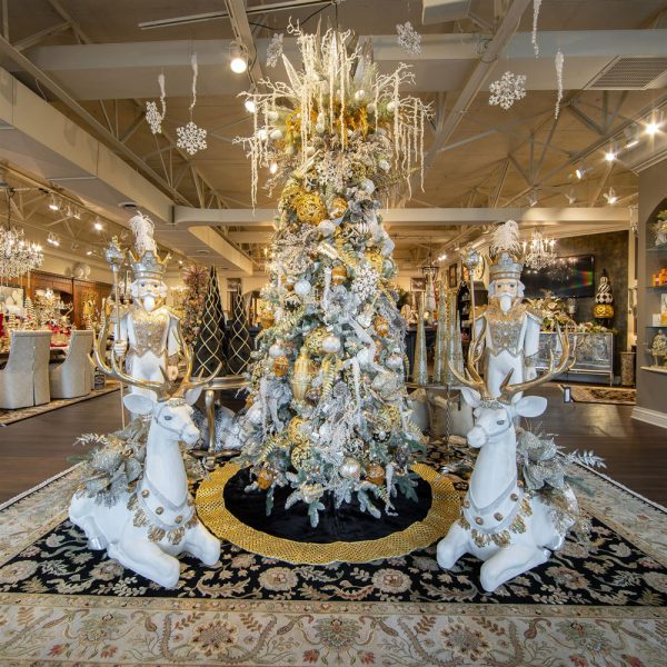 White and Gold Decorated Deer Christmas Tree and Holiday Soldiers Luxury Christmas Decorations for your Home at Linly Designs Christmas Open House