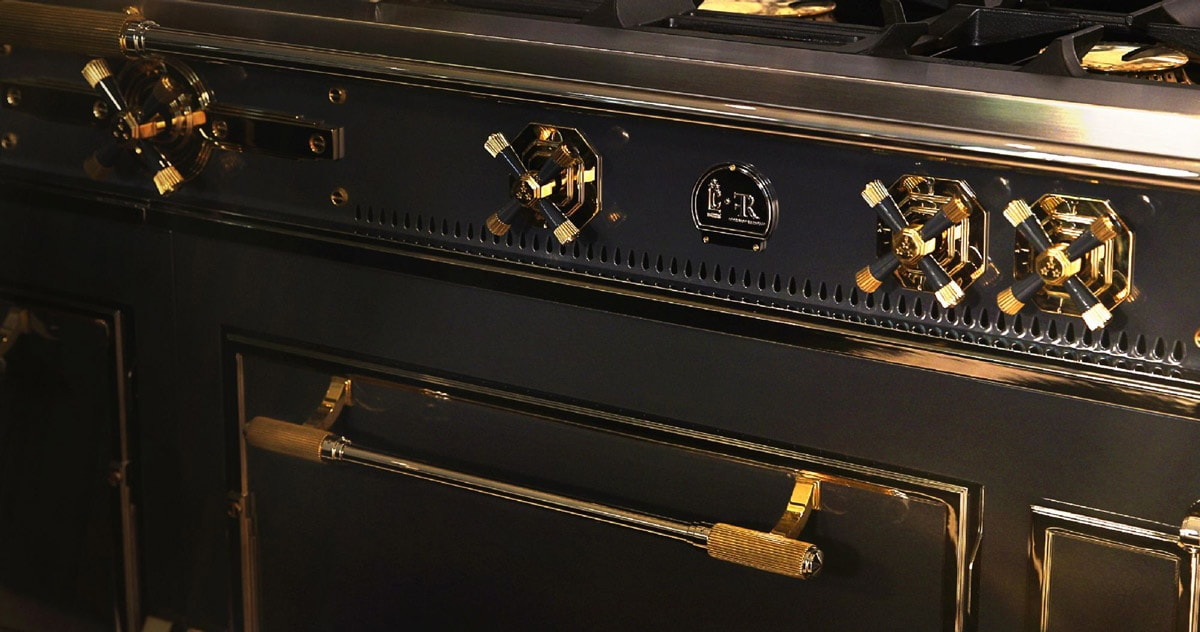 The most expensive Kitchen Appliance La Cornue Black and Gold Chateau Supreme Luxury French Ranges and Hoods
