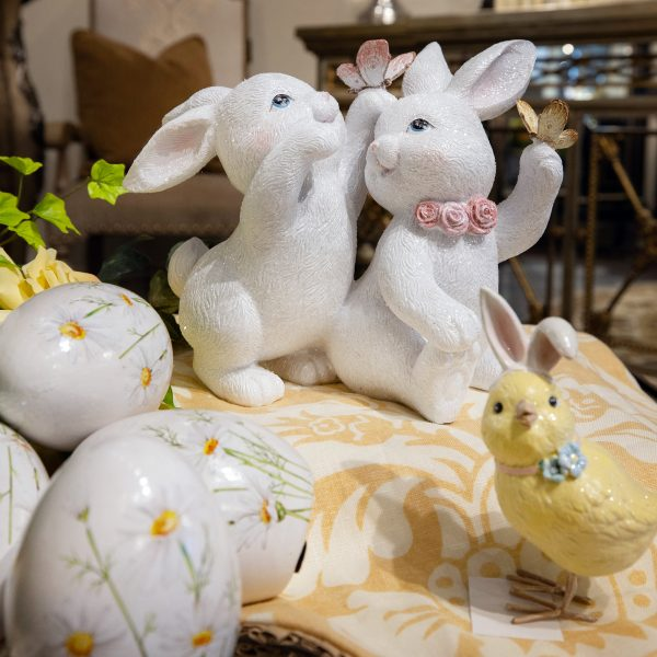 A Pair of White and Pink Spring Luxury Bunny Home Decor