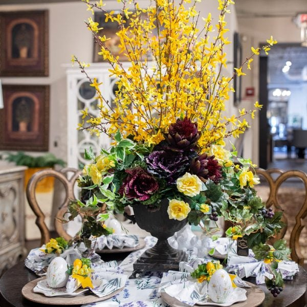 Beautiful White Blue and Yellow Spring Table Setting