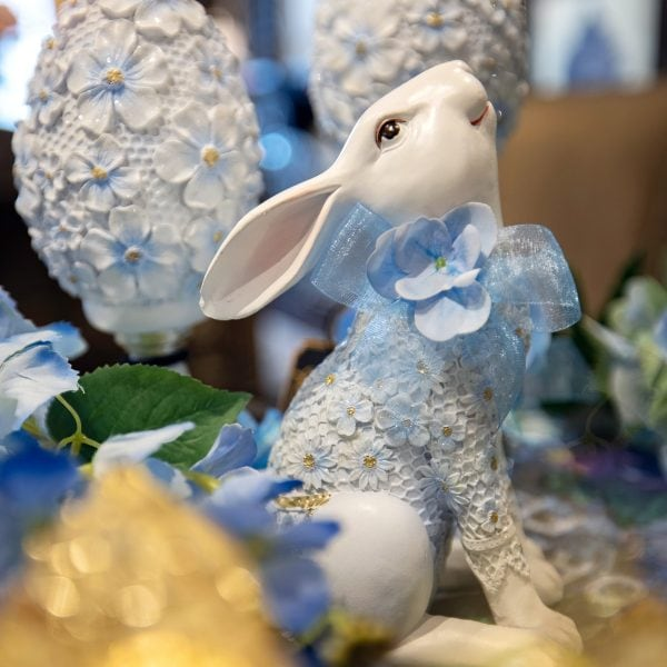Blue Spring Decorated Luxury Bunny Home Decor