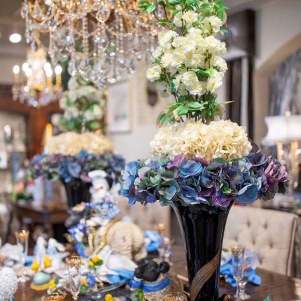 Blue-and-Cream-Custom-Spring-Silk-Flower-Arrangement-in-Black-Urn