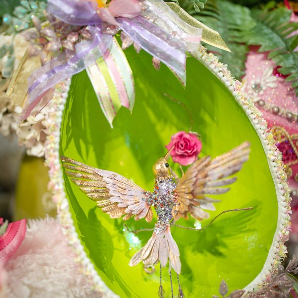 Green Luxury Spring Decorated Egg with a Gold Humming Bird