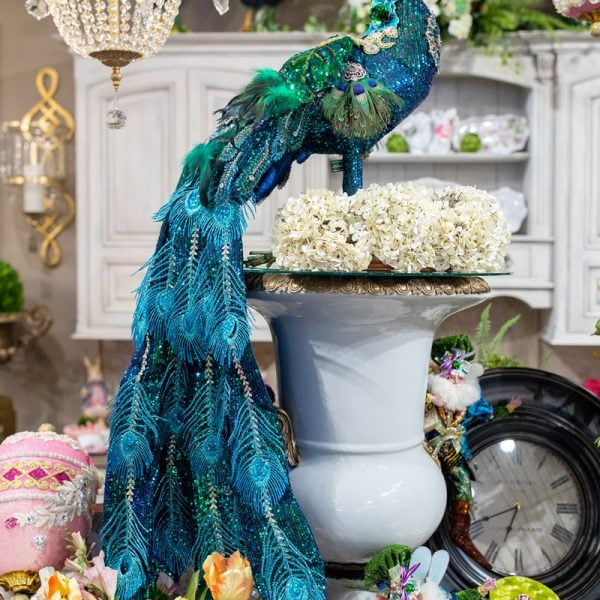 Luxury Blue and Tourqious Glittered Peacock Home Decor