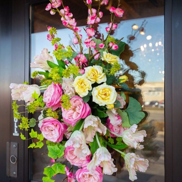 Pink-and-Yellow-Custom-Spring-Floral-Arrangement-Door-Swag