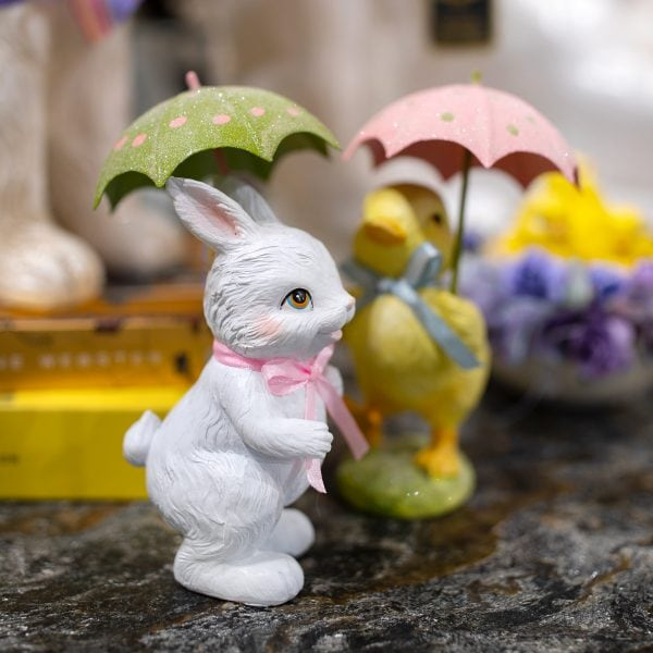 White Spring Easter bunny and a Yellow Baby Chick with an Umbrella Home Decor
