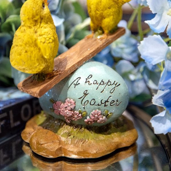 Yellow Spring Luxury baby Chicks on a Seesaw Happy Easter Home Decor