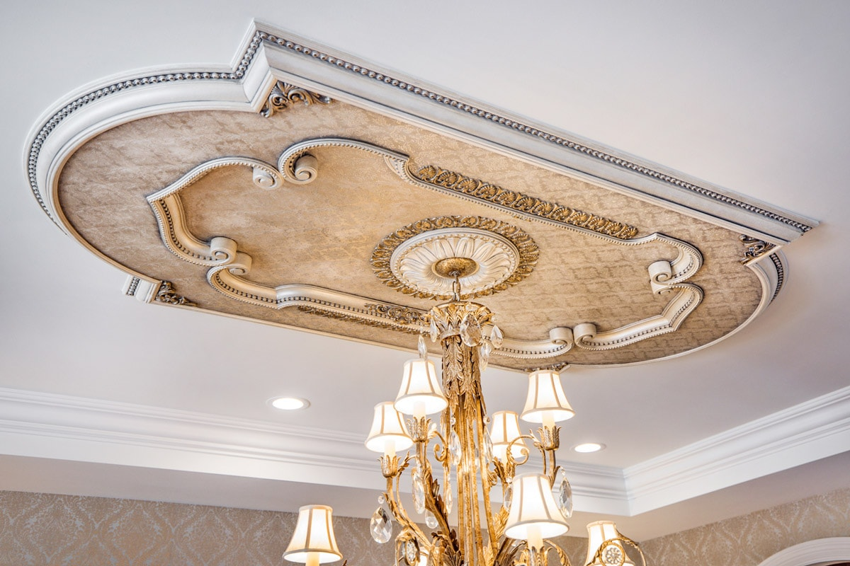 Custom Hand Painted Dining RoomCeiling Medallion for a Luxury Fine Art Chandelier