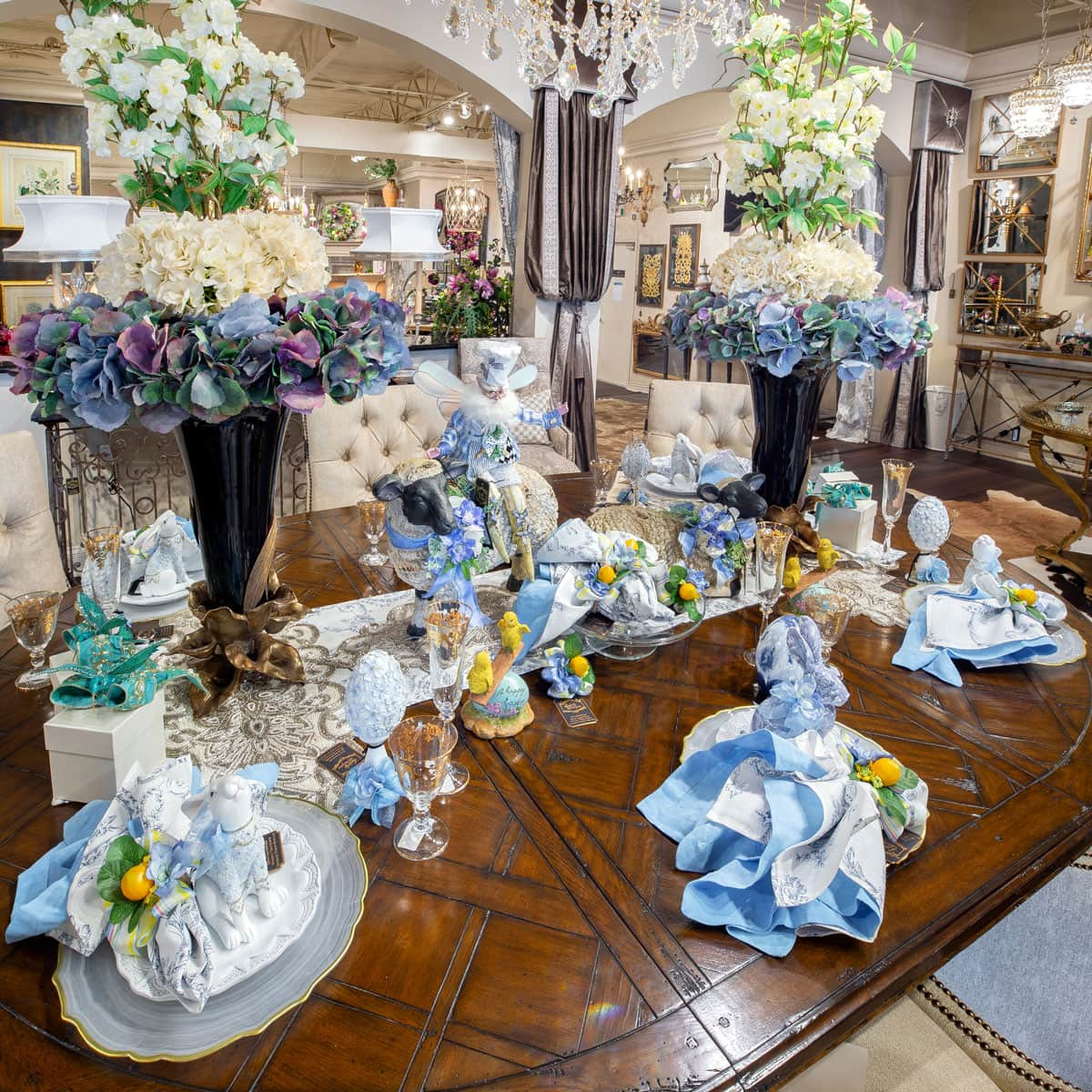 Luxury Blue Spring Themed Table Setting