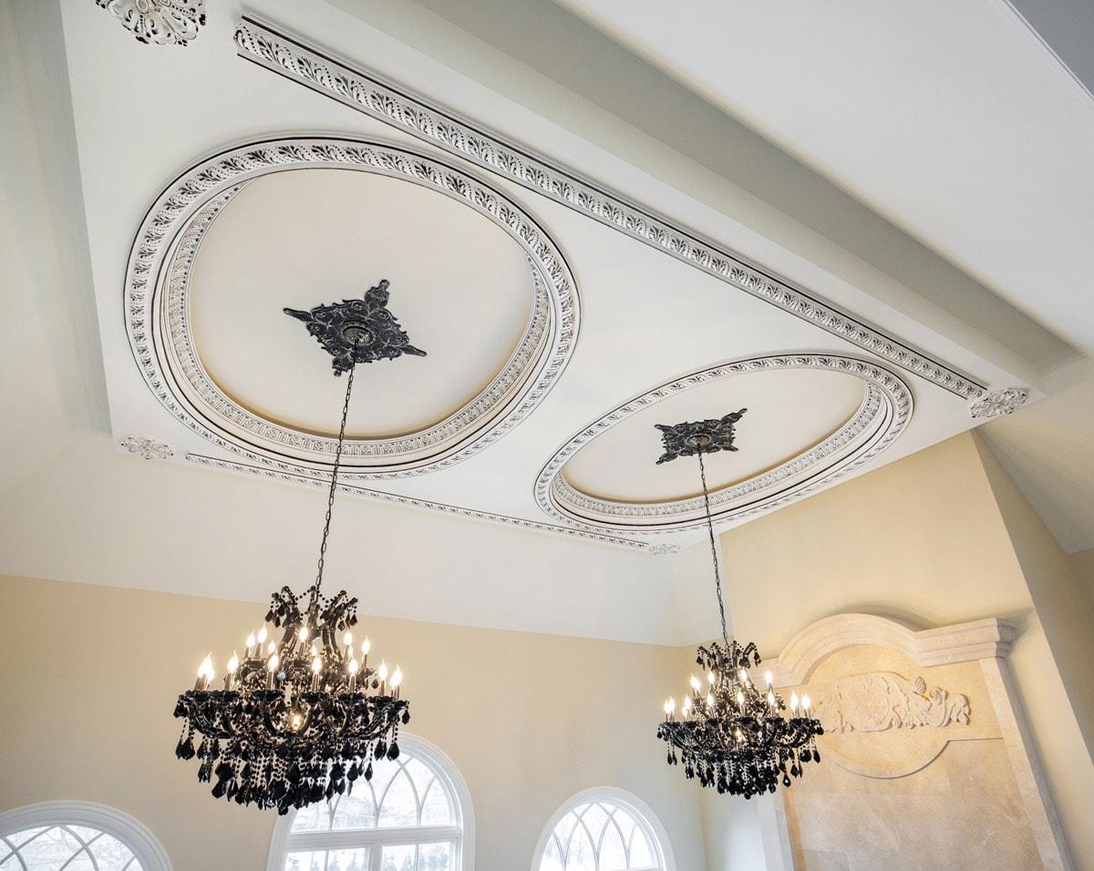Luxury Family Room Double Chandelier Decorative Black Ceiling Medallion