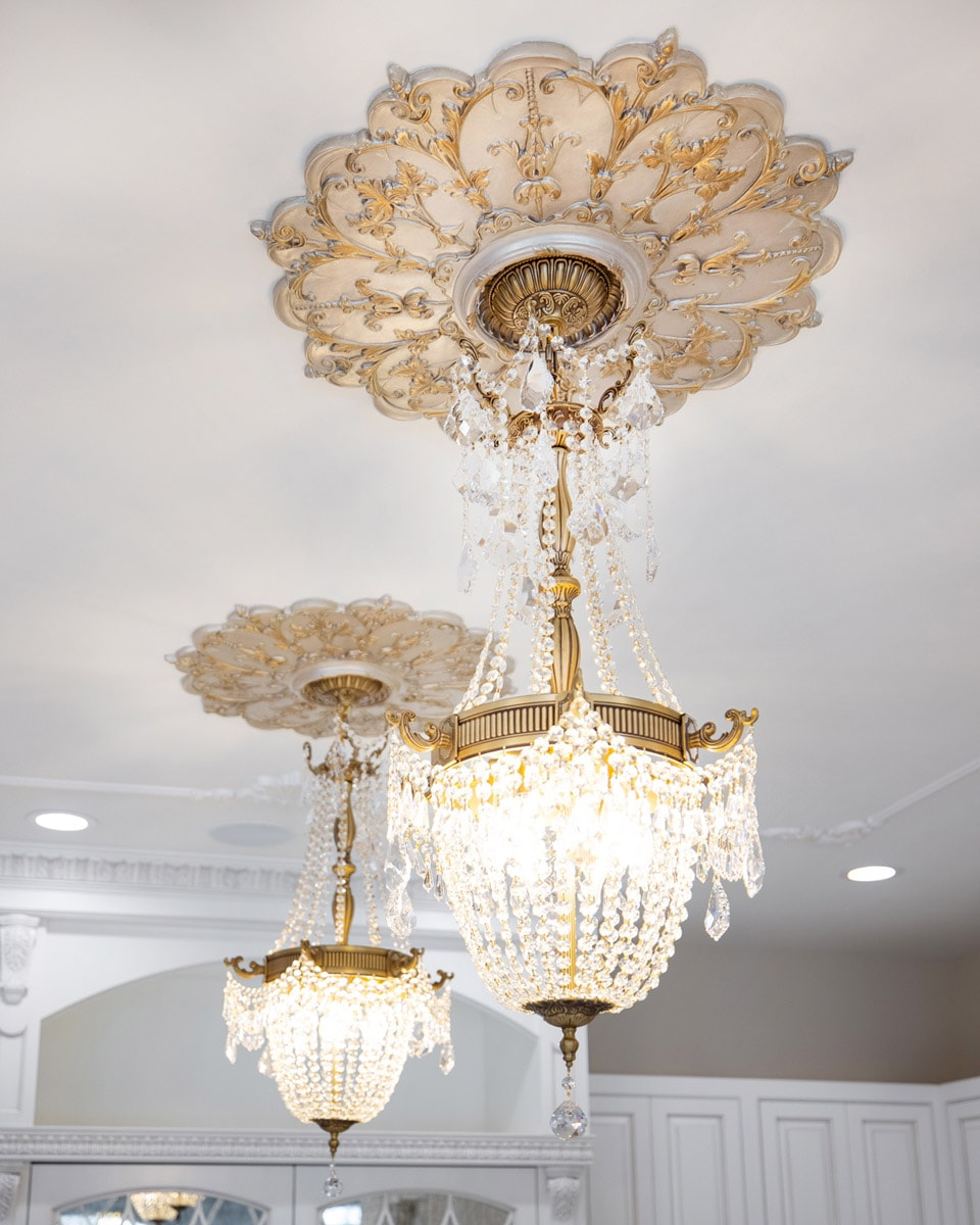 Painted Silver and Gold Kitchen Island Ceiling Medallions and Gold Crystal Chandelier