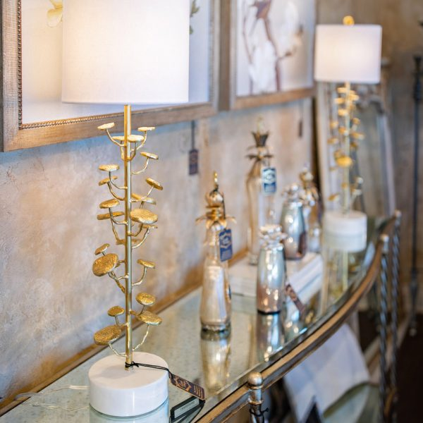 Beautiful Skinny Gold Bronze and Marble Sculptural Table Lamps on a Mirrored Marge Carson Console