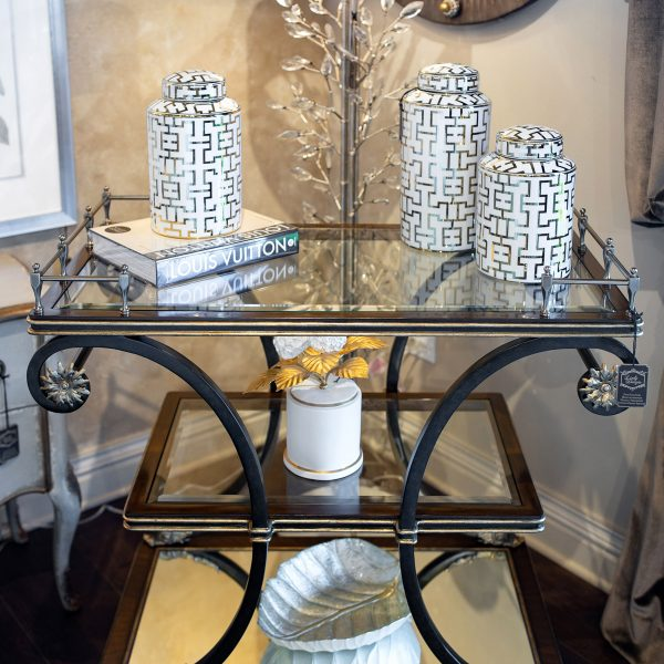 Dark Wood and Glass Luxury Marge Carson Serving Bar Cart