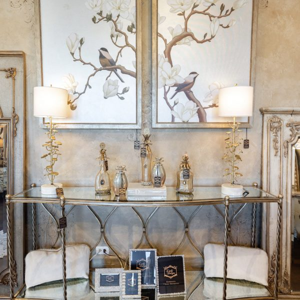Luxury Silver Marge Carson Mirrored Console