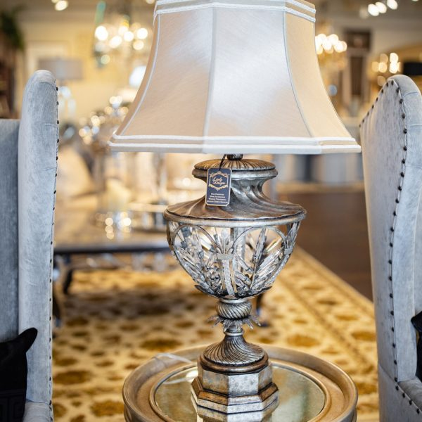 Silver Fine Art Luxury Open Crystal Table Lamp with a White Cream Shade